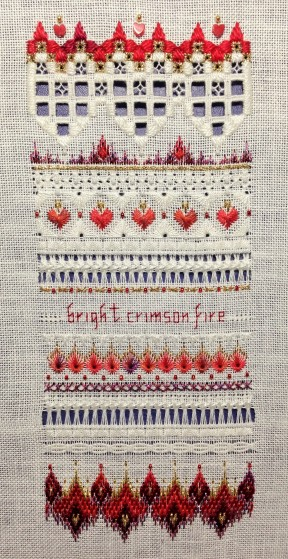 """""""Crimson Fire Sampler"""" by The Victoria Sampler Stitched on 28ct white Cashel linen with recommended threads and beads Started Jan 2011 - Finished 28 Jan 2014"""