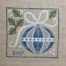 """Blue and Silver"" ornament by Country Cottage Needleworks"