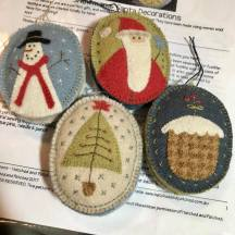Snowmen & Santa Decorations by Hatched and Patched